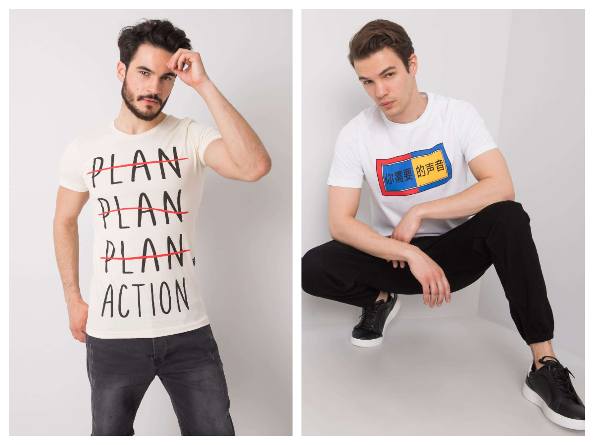 białe t-shirty męskie z nadrukiem