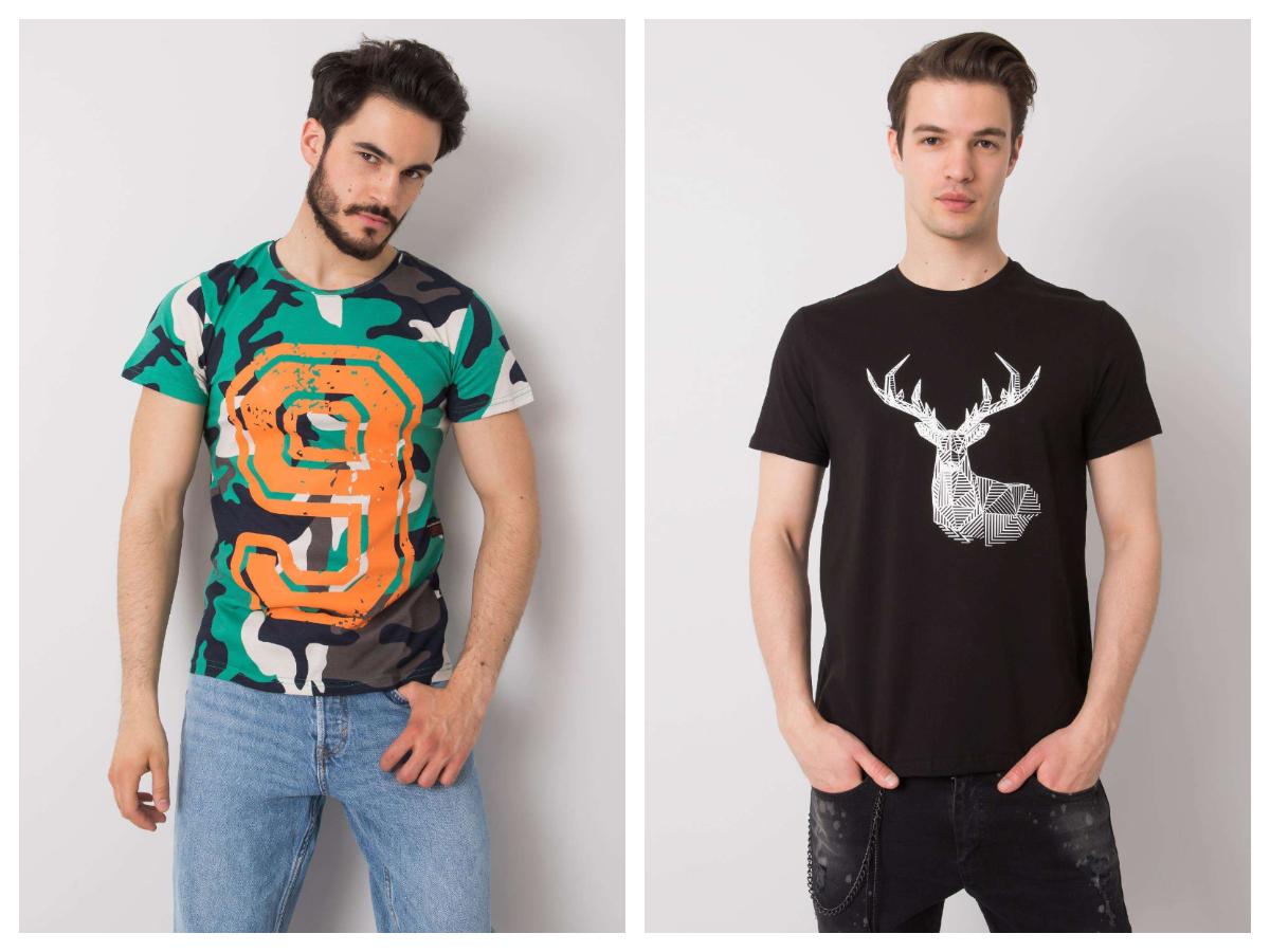 kolorowe t-shirty męskie z nadrukiem