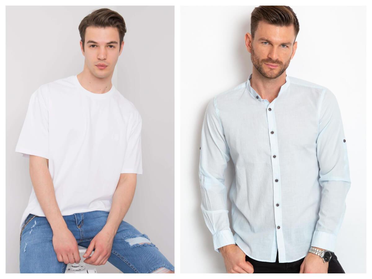 Męska stylizacja casual: biała koszula i t-shirt casual