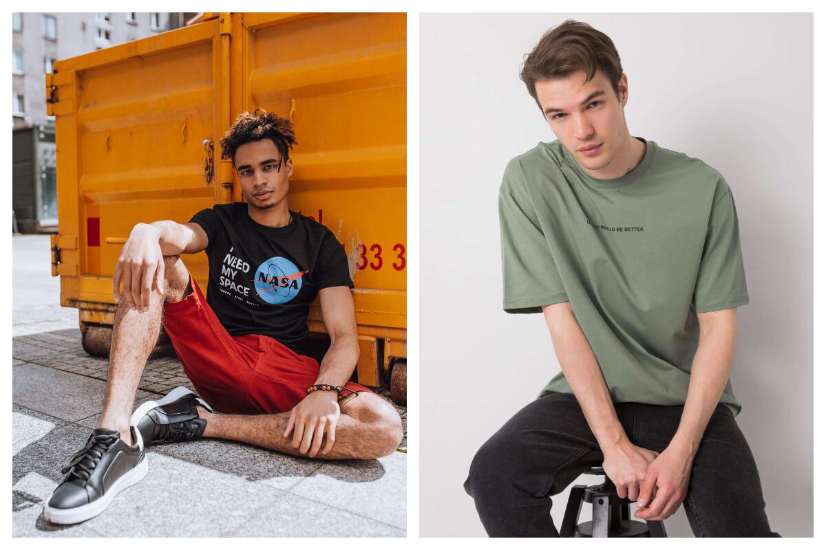 T-shirt męski z nadrukiem i t-shirt męski basic