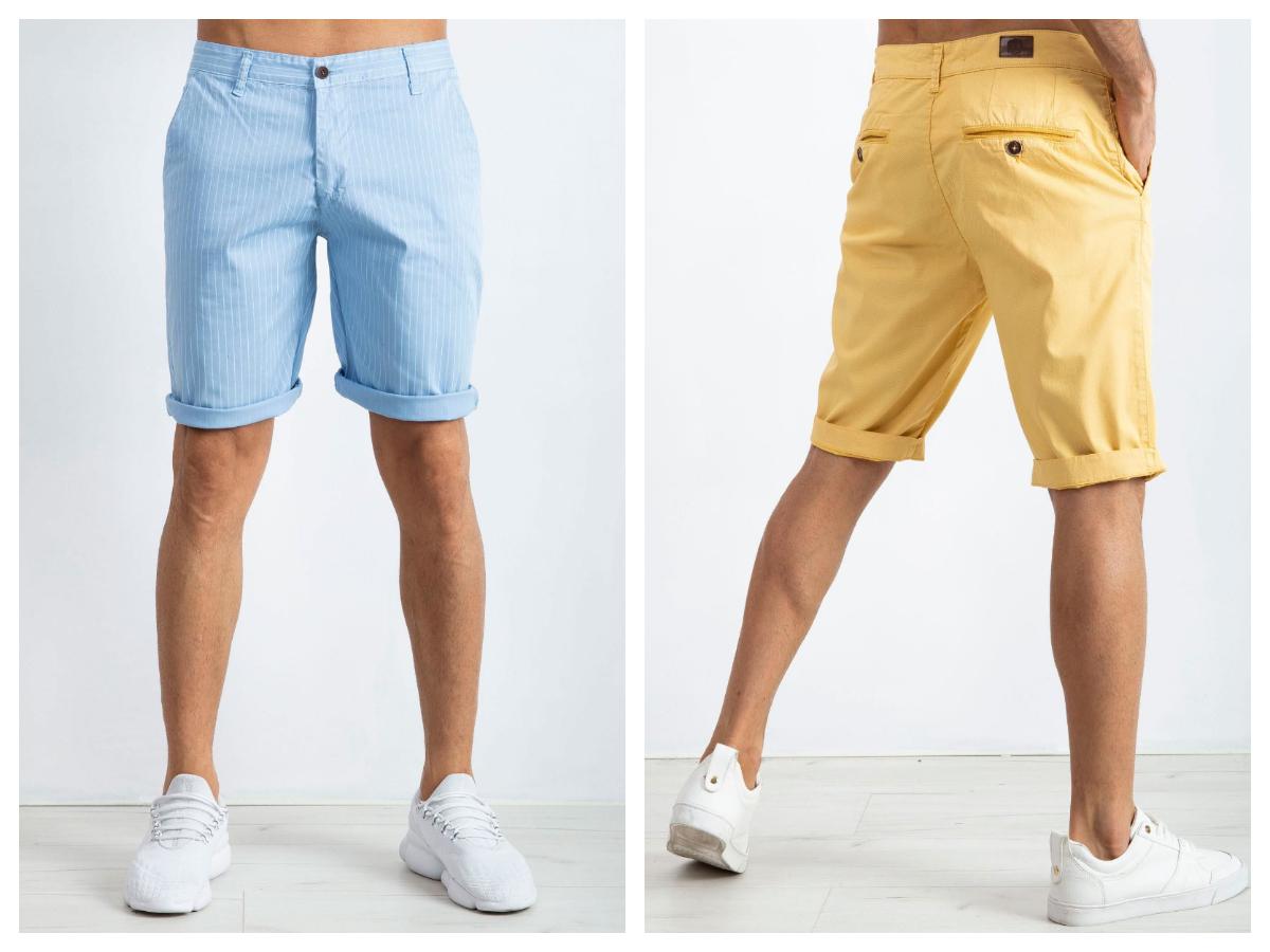 szorty krótkie na lato z kieszeniami w kolorze błękitnym