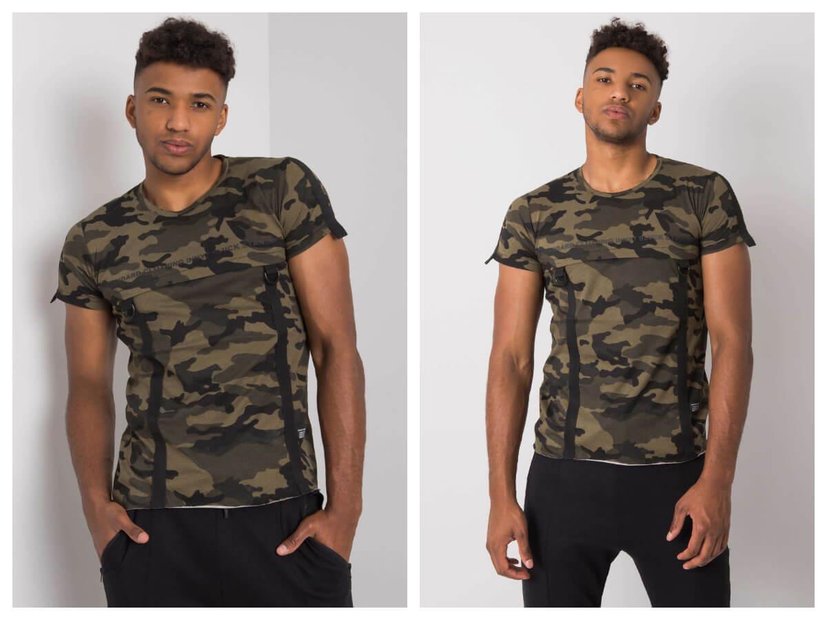 Modne męskie koszulki z nadrukami moro