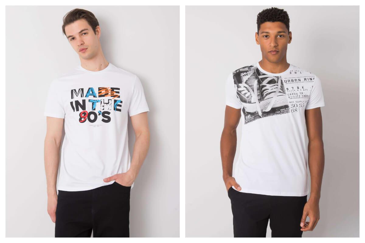 Białe koszulki z nadrukiem męskie
